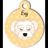 Médaille personnalisée chien blanc poils mi-longs