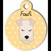 Médaille personnalisée chien frisé crème
