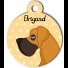 Médaille personnalisée chien caramel et marron foncé poils courts