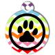medaille_personnalise_chien_patoune_fashion_zigzag_multicolore_noire_cerclee