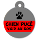 medaille_personnalisee_chien_puce_grise_rouge