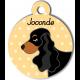 Médaille personnalisée jaune chien noir et marron oreilles longues