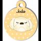Médaille personnalisée jaune chien crème poils longs