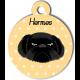 Médaille personnalisée jaune chien noir poils longs