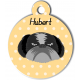 Médaille personnalisée jaune chien gris et noir poils longs
