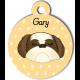 Médaille personnalisée jaune chien crème et marron poils longs