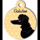 Médaille personnalisée jaune chien frisé oreilles longues noir