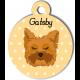 Médaille personnalisée jaune chien marron clair poils mi longs