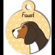Médaille personnalisée jaune chien marron fonce tâches marron clair et blanches