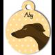 Médaille personnalisée jaune chien fin marron foncé