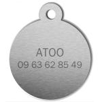 medaille_personnalisee_chien_hi_doggy_mignon_dessin_noeud_bleu_dos