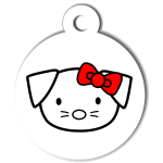 medaille_personnalisee_chien_hi_doggy_mignon_dessin_noeud_rouge
