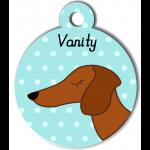 Médaille bleu chien marron type teckel levrier poils courts