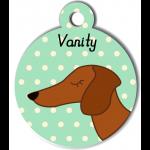 Médaille vert chien marron type teckel levrier poils courts