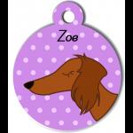 Médaille violet chien marron type teckel levrier poils longs