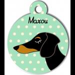 Médaille vert chien bicolore type teckel levrier poils courts