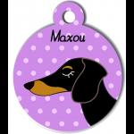 Médaille violet chien bicolore type teckel levrier poils courts