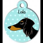 Médaille bleu chien bicolore type teckel levrier poils longs