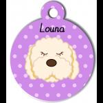 Médaille violet chien frisé blanc type caniche