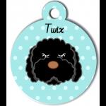 Médaille bleu chien frisé noir type caniche