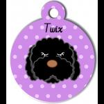 Médaille violet chien frisé noir type caniche