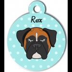 Médaille bleu chien tricolore type boxer