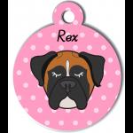 Médaille rose chien tricolore type boxer