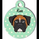 Médaille vert chien tricolore type boxer