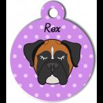 Médaille violet chien tricolore type boxer