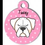 Médaille rose chien blanc type boxer