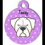 Médaille violet chien tricolore type blanc