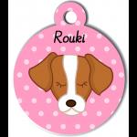 Médaille personnalisée rose pour chien marron et blanc