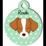 Médaille personnalisée vert pour chien marron et blanc