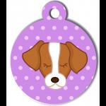 Médaille personnalisée violet pour chien marron et blanc