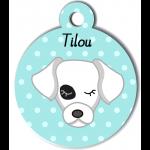Médaille personnalisée bleu pour chien blanc tache oeil noir