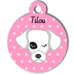 Médaille personnalisée rose pour chien blanc tache oeil noir