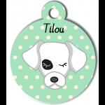 Médaille personnalisée vert pour chien blanc tache oeil noir