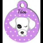 Médaille personnalisée violet pour chien blanc tache oeil noir