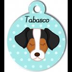 Médaille personnalisée bleu pour chien marron blanc noir