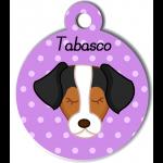 Médaille personnalisée violet pour chien marron blanc noir