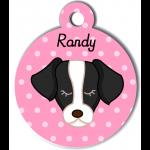 Médaille personnalisée rose pour chien noir et blanc
