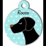 Médaille personnalisée bleu pour chien noir