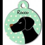 Médaille personnalisée vert pour chien noir
