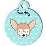 Médaille personnalisée bleu pour petit chien crème et blanc