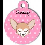 Médaille personnalisée rose pour petit chien crème et blanc
