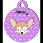 Médaille personnalisée violet pour petit chien crème et blanc
