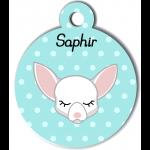Médaille personnalisée bleu pour petit chien blanc