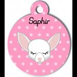Médaille personnalisée rose pour petit chien blanc
