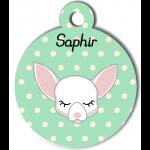 Médaille personnalisée vert pour petit chien blanc