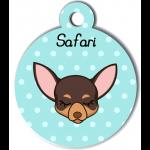 Médaille personnalisée bleu pour petit chien marron et crème